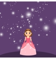 Beautiful cartoon princess on violet background vector image