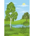 Summer landscape with trees and river vector image