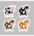 Stickers with funny cow for your design vector image