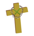 cross with crown of thorns isolated on white vector image