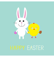 Cute bunny rabbit and chicken holding eggs Happy vector image