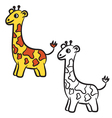 giraffe coloring book vector image