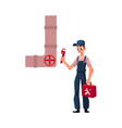 plumbing specialist holding wrench toolbox ready vector image