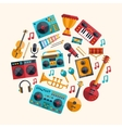 Set of modern flat design musical instruments and vector image
