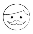 sketch draw round moustache man face cartoon vector image