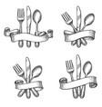 vintage dinner table silverware set vector image