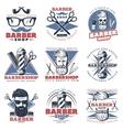 Barbershop Emblem Design Set vector image vector image