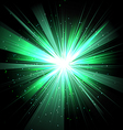 Star with rays white green in space isolated and vector image