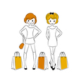 Shopping girls with sale bags vector