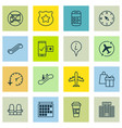 set of 16 airport icons includes forbidden mobile vector image