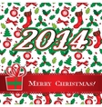 Merry Christmas holly greeting card design vector image