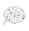 Doodle speech bubble icon with infographics vector image vector image