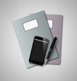 Notebooks with pen and smart phone background vector image vector image
