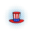 Cylinder in the USA flag colors icon comics style vector image