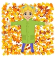 Cute little girl lying on colorful autumn leaves vector image