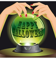 Halloween background with magic sphere vector image