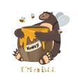 Cute bear with a barrel of honey vector image