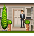 A man in front of their house vector image