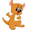 cute kangaroo cartoon vector image