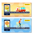 fast food and pizza delivery flyers vector image