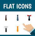 flat icon necktie set of tailoring textile tie vector image
