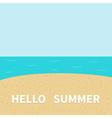 Hello summer Beach sea ocean sky sand Cute cartoon vector image