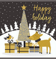 merry christmas gold card with deer and gifts vector image