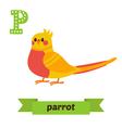 Parrot P letter Cute children animal alphabet in vector image