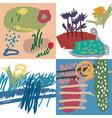 spring set artistic universal floral cards vector image