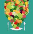 vegetables on plate vegetable dish vegetarian food vector image