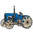 Vintage blue tractor vector image