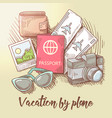 vacation by plane travel around the world vector image vector image