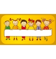 six kids with sign vector image vector image