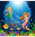 cartoon mermaid under the sea vector image