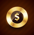doller golden coin design with shiny effects vector image