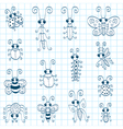 Doodle insects vector image