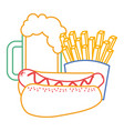 hot dog french fries and beer fast food vector image