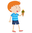 Little boy eating ice cream vector image