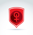 Shield with a red female sign woman gender symbol vector image