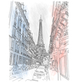 Street of the Paris and the Eiffel Tower vector image
