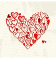 Valentine hearts on grunge background for your vector image vector image