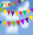 Party flags with blue sky and white clouds vector image