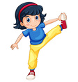 Girl doing exercising alone vector image vector image