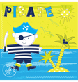 Kid background with pirate vector image