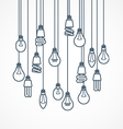 Light bulb hanging on cords - lamps vector image