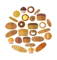 Bakery and pastry products icons set with various vector image