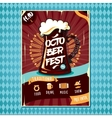 Beer tankard with foam inviting to oktoberfest vector image