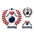 Bowling emblems and symbols vector image