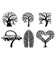 set of art tree symbols vector image