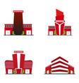 set of fire department modern building in flat vector image
